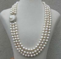 triple strands  natural south sea white pearl necklace 18 inch