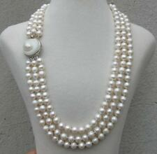 triple strands  natural south sea white pearl necklace 20 inch