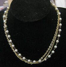 Triple strand string chain gold tone metal faux silvered beads approx 40cm long