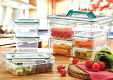 8 x Clear Plastic Storage Boxes Combi 11L Fresh Food Containers Holder With Lids