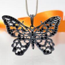 A777 Anhänger XL Schmetterling 925-Silber +Swarovski Elements Crystal Jugendstil