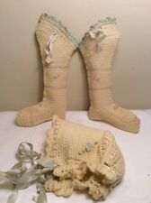 Victorian Antique Wool Knitted Crochet White Baby Doll Socks & Bonnet Set