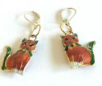 Vintage Red Green Enamel Cloisonne Sitting Cat Drop Dangle Silver Tone Earrings