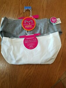 NWT Girls Maidenform Hipster Panties 2 pack 18  Gray/White