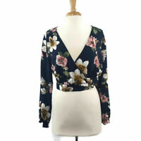 Mind Code Women's Blouse Wrap Cropped Top Floral Long Sleeve Size L