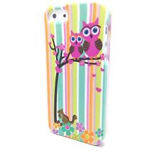 iPhone 5 5S SE - HARD PROTECTOR CASE COVER GREEN PINK OWL FLOWER TREE SQUIRREL