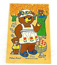Vintage Fisher Price Bear And Cubs Wooden Puzzle #506 10 Pieces Ages 2-5 Holland