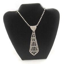 TIE NECKLACE - Bling Bracelet Wedding Bridal Silver Formal Crystal Diamante J334