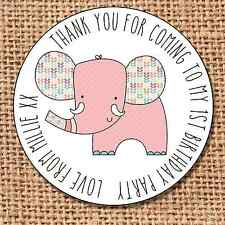Elephant bag stickers 24 thank you  sweet cone labels 1st birthday G