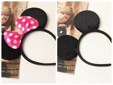 12pcs Cute Black Mickey Hot Pink Bow Minnie Mouse Ears Headbands Party Favors