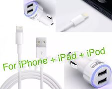 DUAL PORT CAR CHARGER & USB DATA CABLE FOR iPHONE 7/7 Plus/6/6 Plus/5S/5C/SE:CR