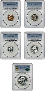 1951 PR Set PCGS PR 66-67 (5 coins)