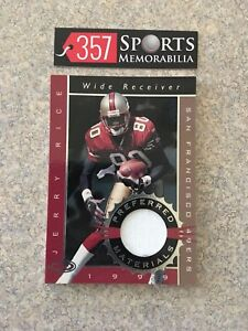 1999 DONRUSS PREFERRED MATERIALS JERRY RICE GAME USED JERSEY WHITE SP #D /150A