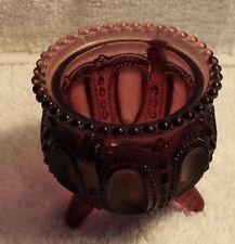 Vintage Amethyst Three Legged Glass Pot Trinket Toothpick Votive Dish