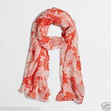 NWT J CREW Coral Orange & White Tropical Leaf Print Scarf Spring 70x20 $39 NEW
