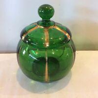 Antique1899 EAPG Xray Emerald Green Sugar Bowl Glass Lid Riverside Glass Gilded