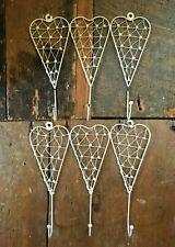 Set 2 vintage boho shabby chic look heart cream wire door hooks clothes hanger