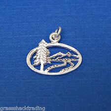 WINTER SCENE Pine Mountain 925 Sterling Silver Pendant Charm #2230