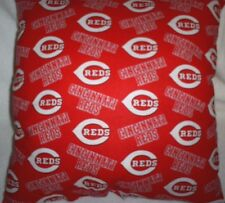 "16""x16"" Handmade Toss Pillow of Cincinnati Reds Cotton w/Red Back"