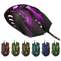 LED Optical USB Wired Gaming Game Mouse Gamer Mice Laptop For PC G1J6