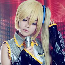 Vocaloid Akita Neru Full Cosplay Wig +120CM Blonde Gloden Ponytail
