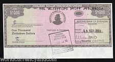 ZIMBABWE 1000 1,000 Dollars P15 2003 Major ERROR *Upside Down Serial # BANK NOTE