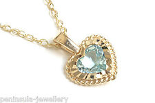 """9ct Gold Blue Topaz Heart Pendant and 18"""" Chain Made in UK Gift Boxed Necklace"""