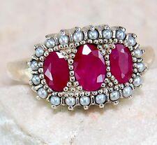 """Yo Grandma Lit'l Ring""Genuine 2CT Natural Ruby pearls victorian deco antique925"