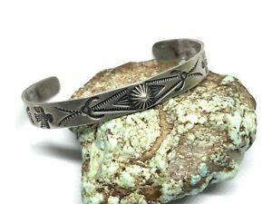 """Vintage Harvey Era Navajo Stamped Sterling Silver Ladies 5.75"""" Cuff Bracelet"""