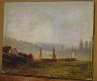Eugène DESHAYES (1828-1891) TABLEAU PAYSAGE BATEAU SEINE ROUEN ? NORMANDIE 1880