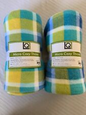 """Lot of 2 LIVING QUARTERS Super Soft Micro Cozy Throw Blankets Blue Green 50""""X60"""""""