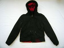 Harley Davidson Black Puffer Jacket Genuine Fur Hood Womens Size L