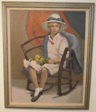 "Girl in a Pink Dress Impressionist Oil Painting-28""x 22""-1960s-John Dahl- Listed"
