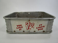Vintage aluminum metal 7up soda pop tray carrier advertising sign