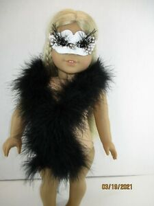 """Very cute black boa and eye Mask fits 18"""" American Girl Doll and other dolls."""