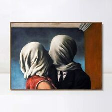"""Framed Canvas Giclee Print Art The Lovers 1928 by Rene Magritte Wall Art 24""""x32"""""""