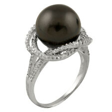 Fancy sterling silver rhodium plated ring with 12mm black shell pearl and CZ.