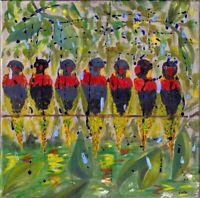 "Expressionistin L. Sansores Cota Öl Leinwand ""Vögel"" 40 x 40 cm"