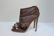 New sz 8.5 / 38.5 GUCCI Brown Leather Lika Stone Detailed Ankle bootie pump Shoe