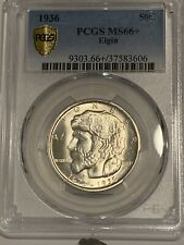 1936 50C PCGS MS 66+ Elgin Commemorative Silver Half Dollar, GEM+ Uncirculated