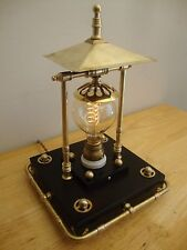 Steampunk Table Art Lamp, Vintage Edison Bulb, Wood Base, Lots of Brass, Dimmer!