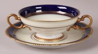 Rare Antique ROSENTHAL Soup Set 9 BOWLS & PLATES Cobalt Blue, Gold