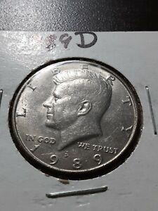 1989-D Kennedy Half Dollar, circulated,