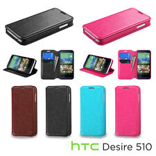 For HTC Desire 510 / 512 Leather Flip Wallet Hard Case Cover Stand Pouch Fold