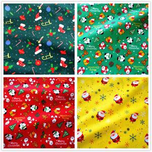 50x150cm Cotton Twill Fabric DIY Bedding Clothing Material Merry Christmas San B