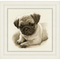 Vervaco Counted Cross Stitch Kit Dog Pug 21cm x 21cm