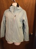 COLUMBIA TITANIUM Womens Small Aqua Blue Omni Tech Hooded Ski Jacket Waterproof