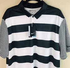 Nike Golf Men's Black/White Breathe Stripe Dri-Fit Short Sleeve Polo Shirt XL