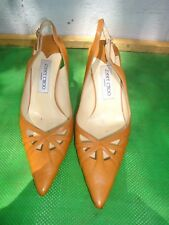 Jimmy Choo Tan Leather Pumps  Classic Women Shoe SZ # 39.5