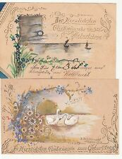 2 Hand-Painted Ak Stationery Birthday Wollbrecht Lohmen 1914 Signed GS ! ( A580